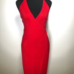 Laundry by Shelli Segal Wrap-Neck Halter Gown Sz 4